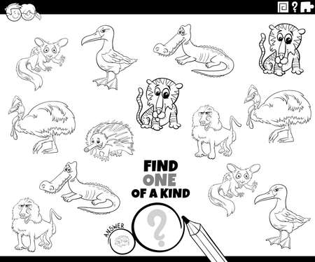 Black and White Cartoon Illustration of Find One of a Kind Picture Educational Game with Comic Wild Animal Characters Coloring Book Page 向量圖像