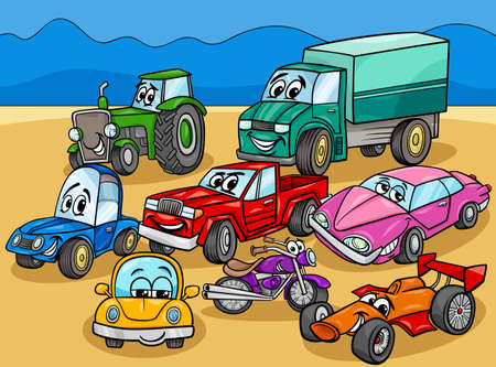 Cartoon Illustration of Cars and Vehicles Comic Characters Group