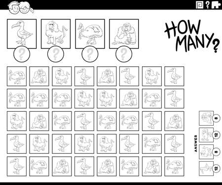 Black and White Illustration of Educational Counting Task for Children with Cartoon Animal Characters Coloring Book Page