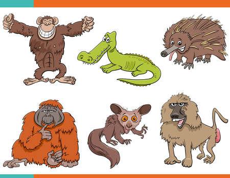 Cartoon Illustration of Wild Animals Comic Characters Set