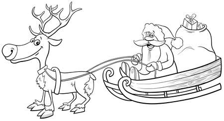 Black and White Cartoon Illustration of Santa Claus Christmas Character on Sleigh with Sack of Presents and Reindeer Coloring Book Page