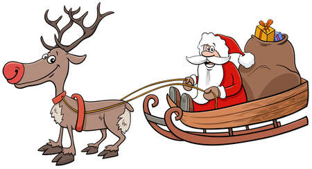 Cartoon Illustration of Santa Claus Christmas Character on Sleigh with Sack of Presents and Reindeer