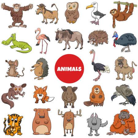 Cartoon Illustration of Funny Wild Animal Characters Big Set