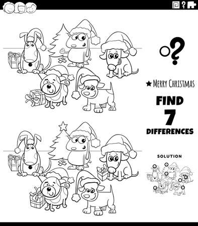Black and White Cartoon Illustration of Finding Differences Between Pictures Educational Game for Children with Comic Dogs Group on Christmas Time Coloring Book Page