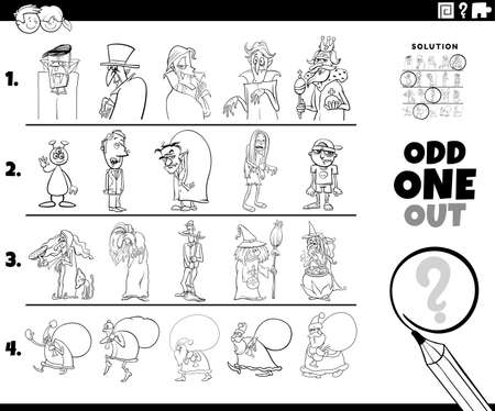 Black and White Cartoon illustration of odd one oute picture in a row educational game for elementary age or preschool children with Christmas and Halloween holiday characters Coloring Book Page Vettoriali