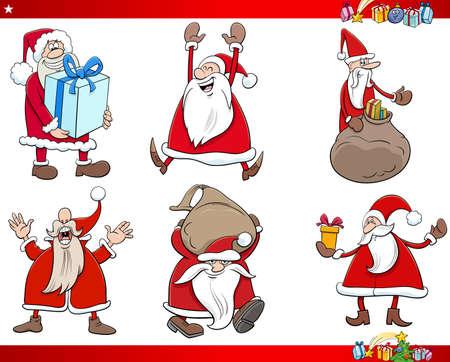 Cartoon illustration of Santa Claus holidays characters on Christmas time Set