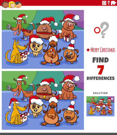 Cartoon illustration of finding differences between pictures educational game for children with cute dogs group on Christmas time