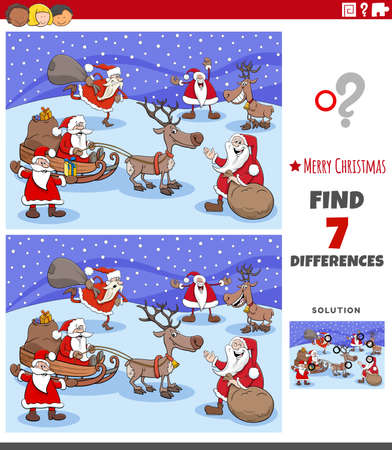 Cartoon illustration of finding differences between pictures educational game for children with Christmas characrters Vettoriali