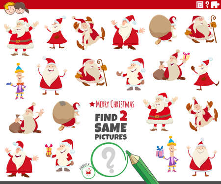 Cartoon illustration of finding two same pictures educational task with Christmas characters Çizim