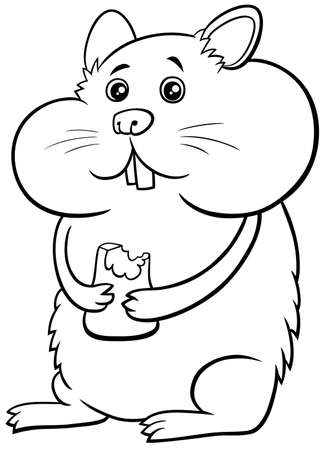 Black and white cartoon illustration of funny hamster animal character coloring book page