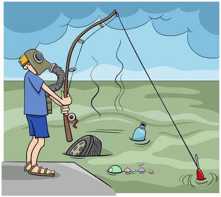 Cartoon illustration of not very smart guy fishing in the sewage