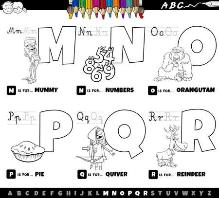 Black and white cartoon illustration of capital letters from alphabet educational set for reading and writing practise for children from M to R coloring book page Ilustração