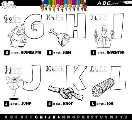 Black and white cartoon illustration of capital letters from alphabet educational set for reading and writing practise for children from G to L coloring book page
