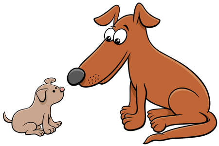 Cartoon illustration of little puppy and adult dog comic animal characters