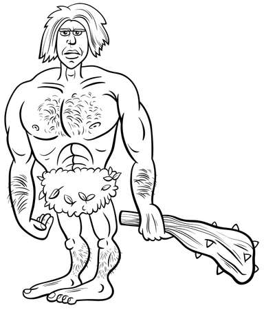 Black and white cartoon illustration of funny prehistoric man stone age character coloring cook page Ilustração