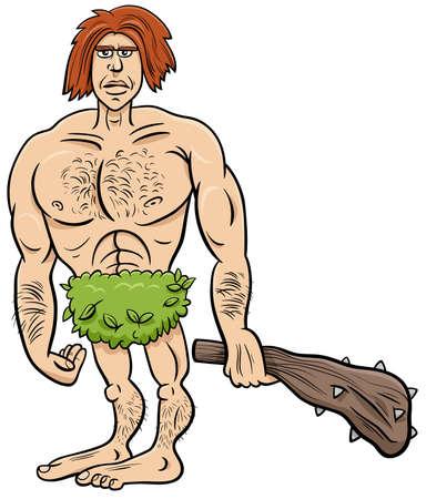 Cartoon illustration of funny prehistoric man stone age character Ilustração