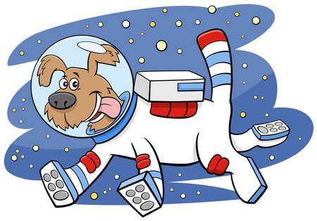 Cartoon illustration of funny dog in space comic animal characters