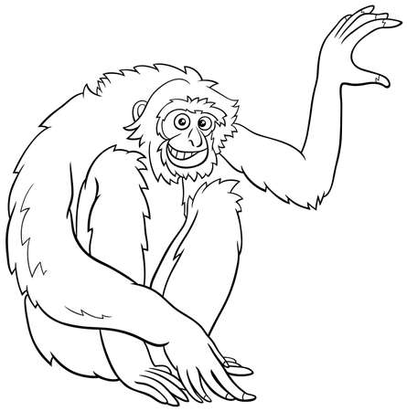 Black and white cartoon illustration of gibbon ape comic animal character coloring book page Ilustrace