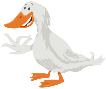 Cartoon illustration of funny duck bird farm animal character Ilustrace
