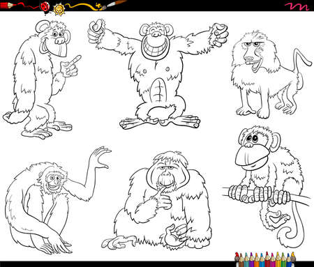 Black and white cartoon illustration of apes and monkeys primate animal characters set coloring book page
