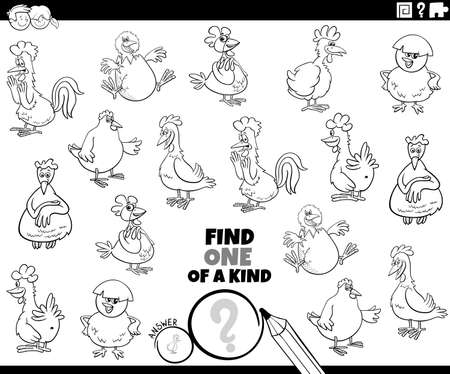 Black and white cartoon illustration of find one of a kind picture educational game with comic chickens animal characters coloring book page