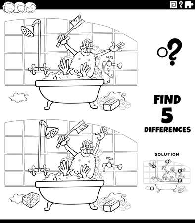 Black and white cartoon illustration of finding the differences between pictures educational game for children with ape taking a bath coloring book page Illustration