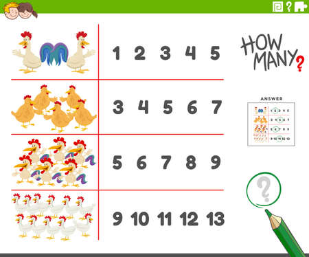 Cartoon illustration of educational counting activity for children with funny chickens farm animal characters