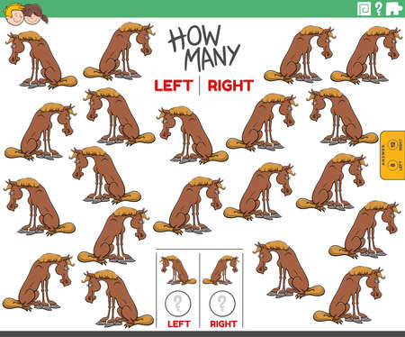Cartoon illustration of educational task of counting left and right oriented pictures of horse farm animal character