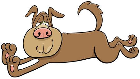 Cartoon illustration of funny stretching sleepy dog comic animal character