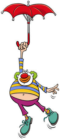 Cartoon illustration of funny clown circus performer with umbrella