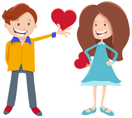 Greeting card cartoon illustration with girl and boy characters with hearts on Valentines Day Çizim
