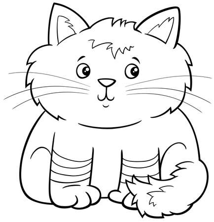 Black and white Cartoon illustration of cute fluffy kitten comic animal character coloring book page