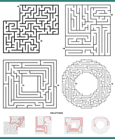 Illustration of black and white mazes leisure game activities set with solutions