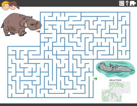 Cartoon illustration of educational maze puzzle game for children with funny hippos