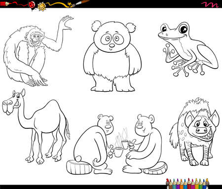 Black and white cartoon illustration of animals comic characters set coloring book page
