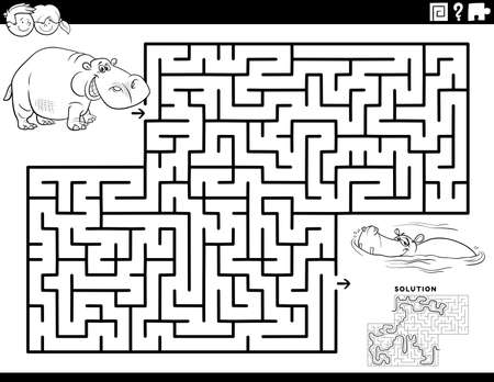Black and White cartoon illustration of educational maze puzzle game for children with funny hippos Coloring Book Page