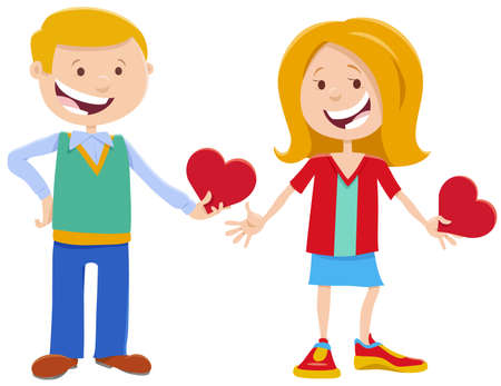 Greeting card cartoon illustration with girl and boy cute characters with Valentines Day cards