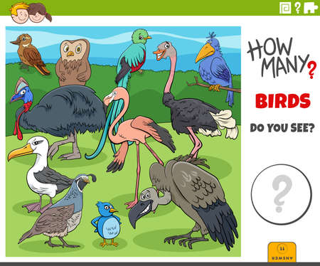 Illustration of educational counting game for children with cartoon birds animal characters group Иллюстрация