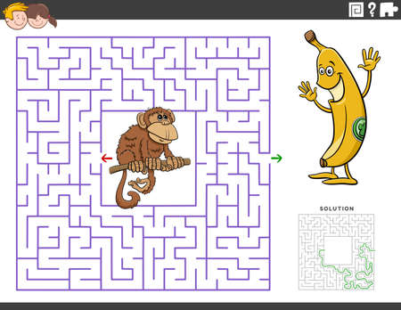Cartoon illustration of educational maze puzzle game for children with funny monkey and banana Иллюстрация