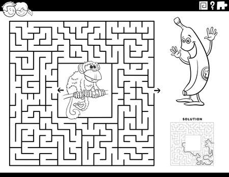 Black and White cartoon illustration of educational maze puzzle game for children with funny monkey and banana Coloring Book Page Иллюстрация
