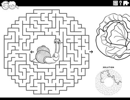 Black and White cartoon illustration of educational maze puzzle game for children with funny snail and lettuce Coloring Book Page