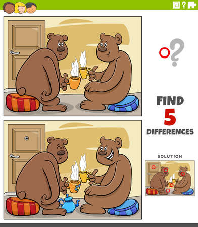 Cartoon illustration of finding the differences between pictures educational game for children with bear characters drinking tea