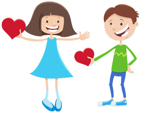 Greeting card cartoon illustration with girl and boy cute characters with Valentines