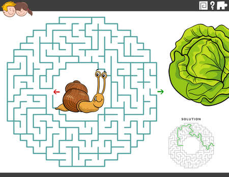 Cartoon illustration of educational maze puzzle game for children with funny snail and lettuce