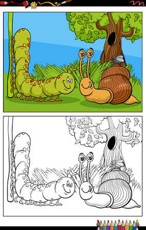Cartoon illustration of caterpillar and snail and fly animal characters coloring book page