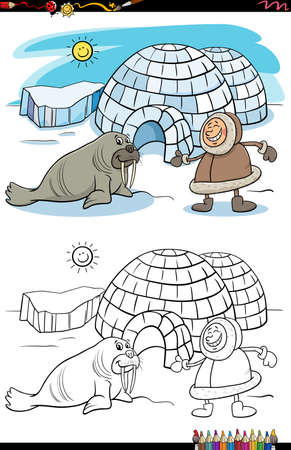 Cartoon illustration of Eskimo with his igloo and walrus coloring book page Иллюстрация