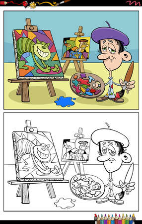 Cartoon illustration of painter in his studio coloring book page