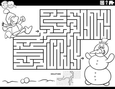 Black and white cartoon illustration of educational maze puzzle game for children with boy and snowman coloring book page