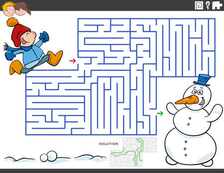 Cartoon illustration of educational maze puzzle game for children with boy and snowman