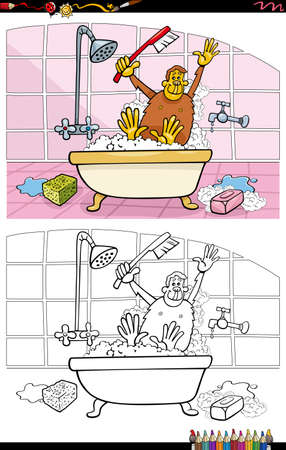 Cartoon illustration of monkey in a bath coloring book page Иллюстрация